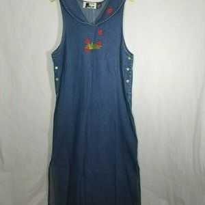 Dresses & Skirts - Long Modest Jumper Maxi Denim Dress Lady Bugs